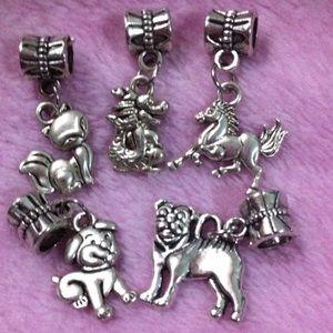 Jewelry - Fox, dog, horse, dragon dangle charm set